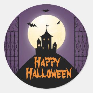 Haunted House Happy Halloween Round Sticker
