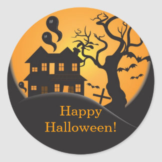 Haunted house Happy Halloween Sticker