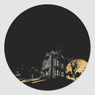 Haunted House on a Hill Halloween Round Sticker