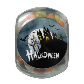 Haunted House on a Hill Spooktacular Halloween Glass Jar