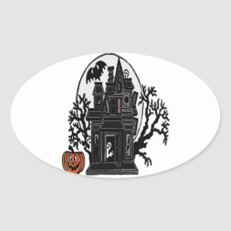 Haunted House Oval Sticker