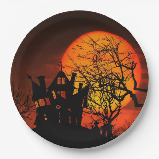 Haunted House Paper Plate