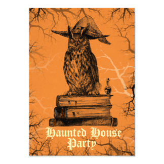 Haunted house party witch owl spooky trees card