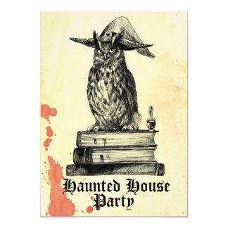 Haunted house party witch owl vintage card