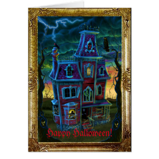 Haunted House Portrait Card