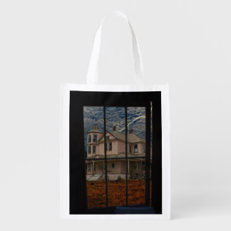 HAUNTED HOUSE REUSABLE GROCERY BAG
