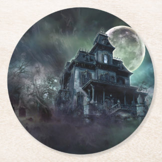 Haunted House Round Paper Coaster