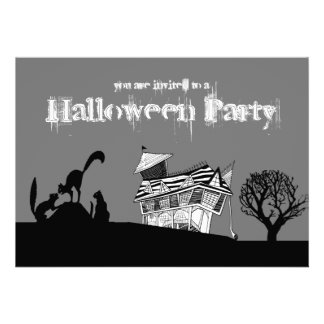 Haunted House Silhouette Cats Halloween Invite
