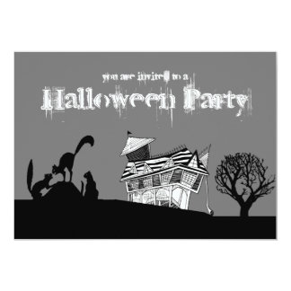 "Haunted House & Silhouette Cats Halloween Invite 5"" X 7"" Invitation Card"