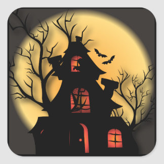 Haunted House Silhouette | Halloween Square Sticker