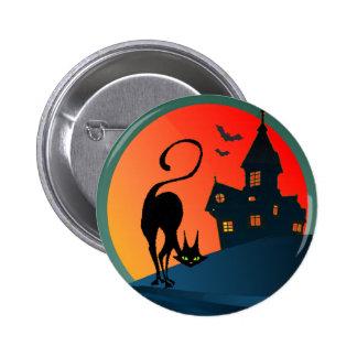 HAUNTED HOUSE, SPIDER, WEB & CAT by SHARON SHARPE 6 Cm Round Badge