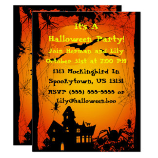 Haunted House Spiders Halloween Invitation