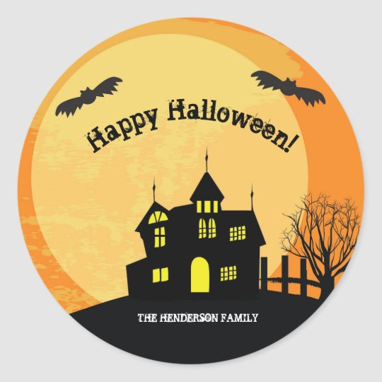 Haunted house trick or treat stickers