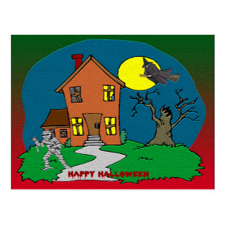 Haunted House, Witch and Mummy Postcard