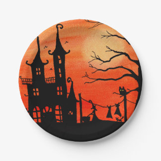 Haunted House Witch Chores Paper Plates