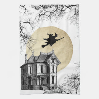 Haunted House Witch Halloween Kitchen Towel