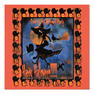 Haunted House Witches Halloween Party Invitation