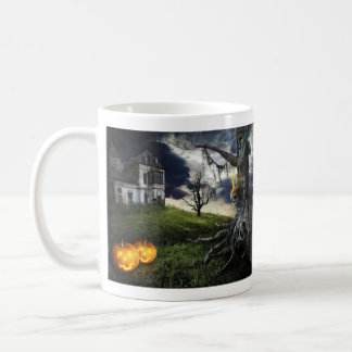 Haunted House with Jack O Lanterns On Halloween Coffee Mug
