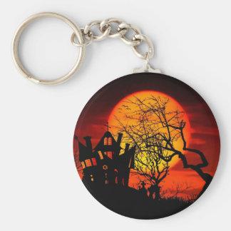 HAUNTED NIGHT, HAUNTED HOUSE! (Halloween) ~ Basic Round Button Key Ring