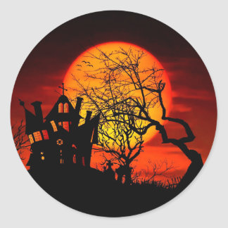 HAUNTED NIGHT, HAUNTED HOUSE! (Halloween) ~ Round Sticker