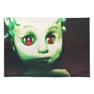 haunted red eyed doll products placemat