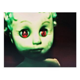 haunted red eyed doll products postcard