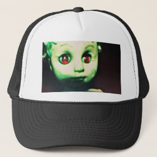 haunted red eyed doll products trucker hat