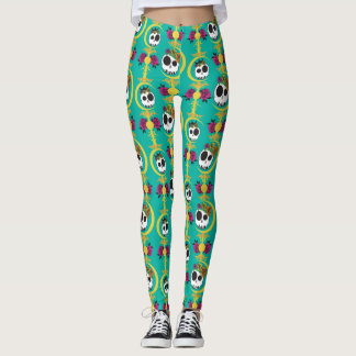 Haunted Skulls Teal Leggings