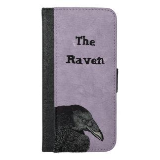 Haunting Black Raven Head Illustration on Purple