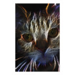 Haunting cat face art, made of light - gothic customized stationery