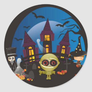 Haunting Halloween Night Classic Round Sticker