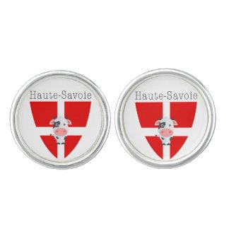 Haute-Savoie Cow Round Cufflinks, Silver Plated Cufflinks