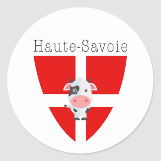 Haute-Savoie Cow Stickers (circle)