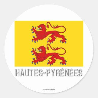 Hautes-Pyrénées flag with name Round Sticker