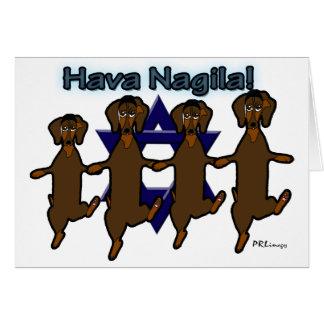 Hava Nagila Dachsunds Greeting Card
