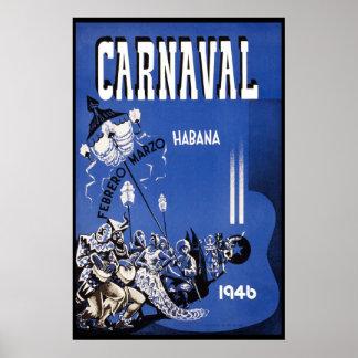 Havana Carnival 1946 Vintage Travel Poster