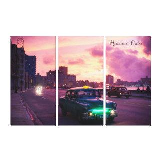 Havana Cuba At Sunset with Vintage Vehicles Canvas Print