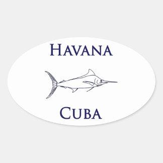 Havana Cuba Blue Marlin Oval Sticker