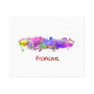 Havana skyline in watercolor canvas print