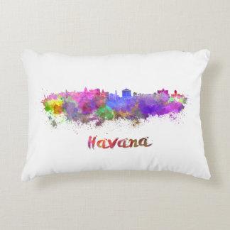 Havana skyline in watercolor decorative cushion