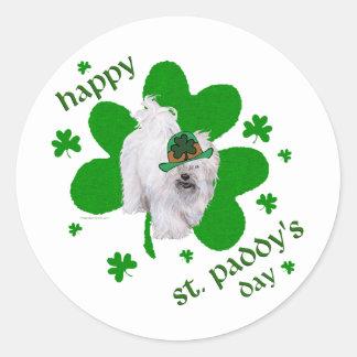 Havanese Celebrates St. Paddy's Day Round Sticker