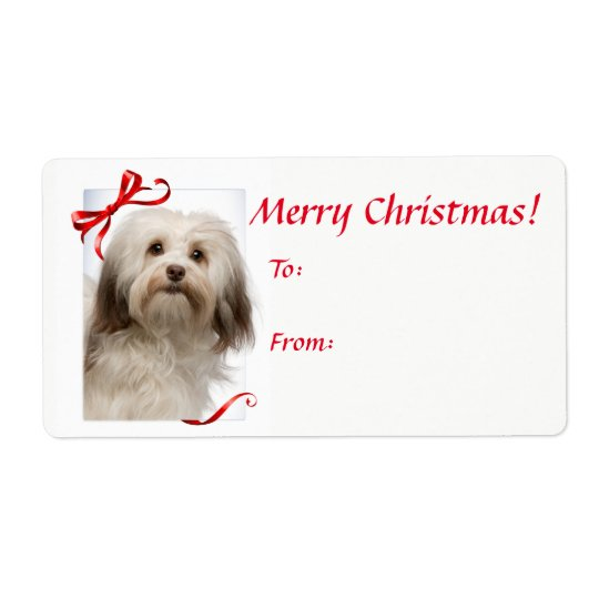 Havanese Christmas Gift Stickers Shipping Label
