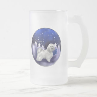 Havanese Christmas Gifts Frosted Glass Beer Mug