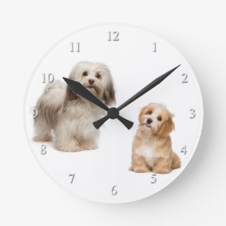 Havanese Dog and Puppy Clock