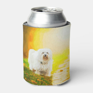 Havanese Dog Bichon Portrait Painting Can Cooler