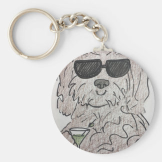 Havanese dog martini basic round button key ring
