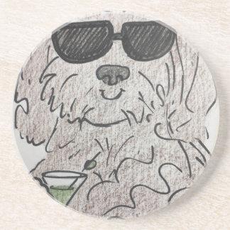 Havanese dog martini beverage coaster