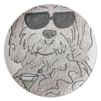 Havanese dog martini plate
