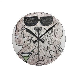 Havanese dog martini round clock