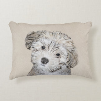 Havanese Puppy Painting - Cute Original Dog Art Decorative Cushion